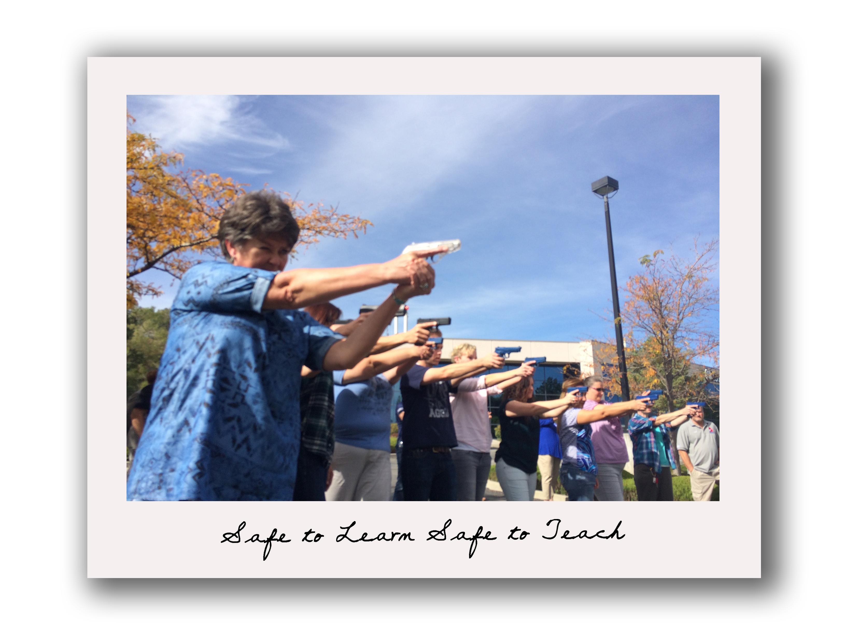 Safe to Teach, Teachers w. guns polaroid