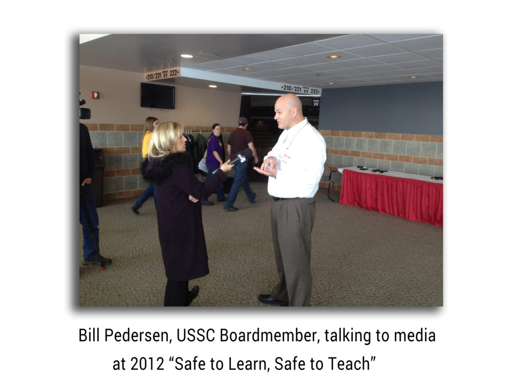 Bill Pedersen talking to Media at Safe to Learn Safe to Teach3
