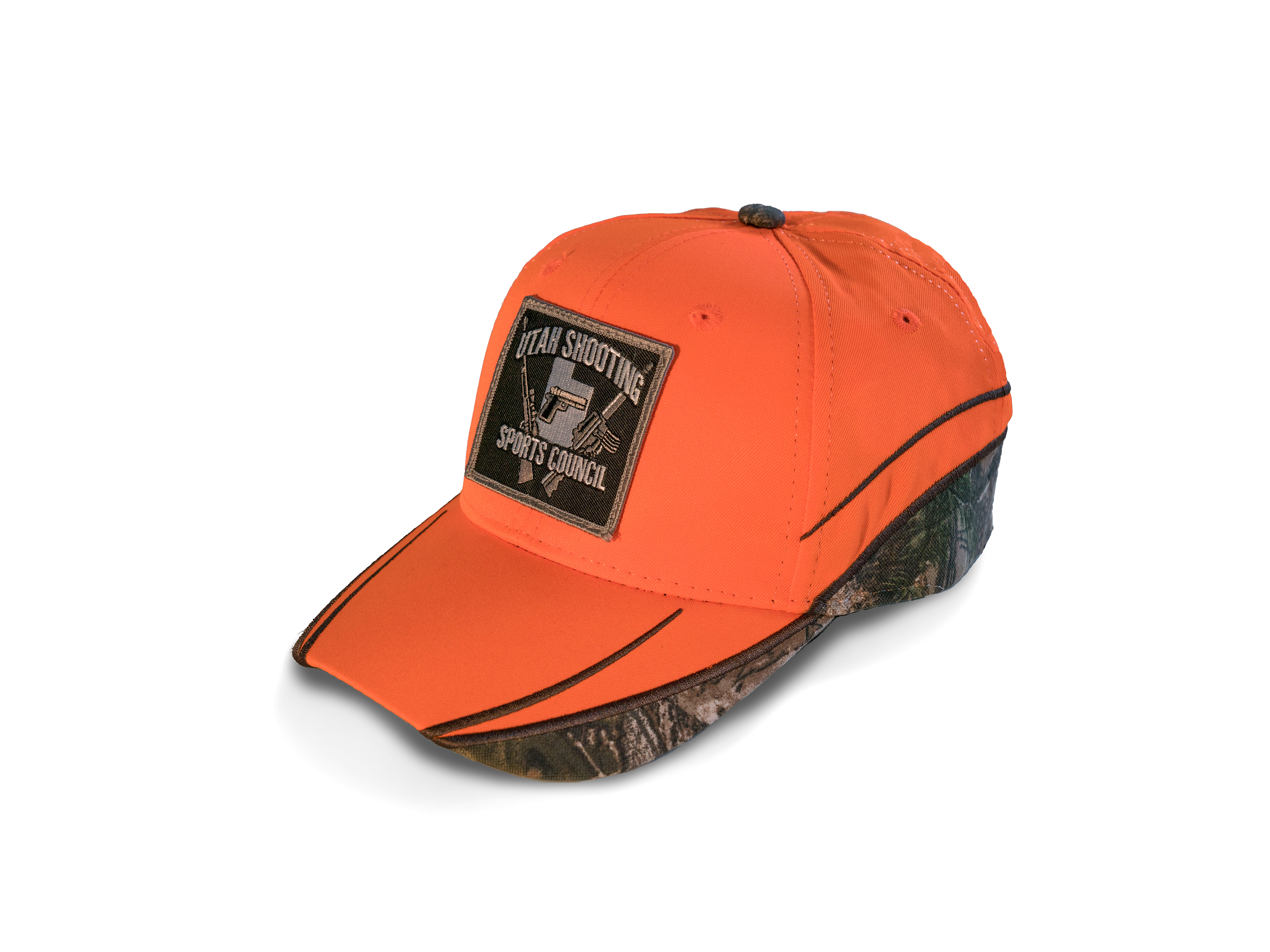 USSC Hat, Semi-structured Orange and Camo with Cross Guns Patch